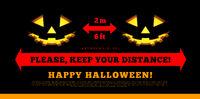 Keep your social distance. Halloween, pumpkins, vector illustration
