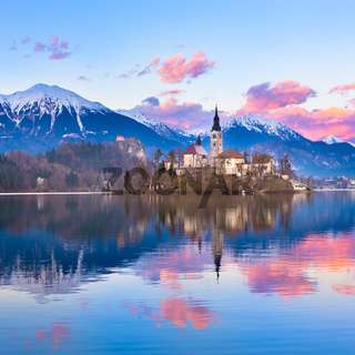 Bled in sunset, Slovenia, Europe.