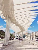 Palmeral De Las Sorpresas in Malaga, the capital city of Andalucia region in Spain, landmark designed by architect Santiago Calatrava