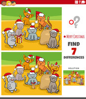 differences educational task for kids with kittens on Christmas time