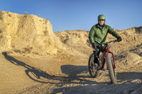 riding fat bike in badlands