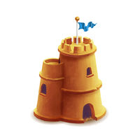 Bright cute sand castle with blue flag on white