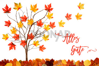 Tree With Colorful Leaf Decoration, Flying Leaves, Alles Gute Means Best Wishes