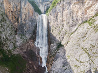 Waterfall Boka in Triglav National Park , Slovenia, Bovec, Europe