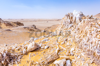 White Desert at Farafra in the Sahara of Egypt. Africa.