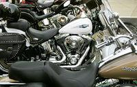 DURHAM,NC/USA - 10-23-2018: Harley Davidson motorcycles parked in downtown Durham, NC