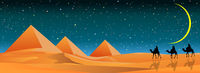 Starry night over sandy desert and pyramids