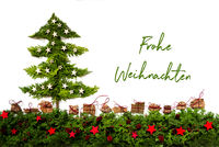 Tree, Silver And Red Stars, Fir Branch, Frohe Weihnachten Means Merry Christmas