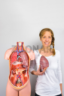 Woman showing lung and human body