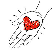 Give away his heart - Hand with red-pink heart- hand-drawn vector illustration for banners, cards