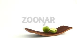 Holzschale mit einem grünen Apfel