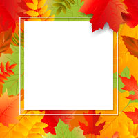 Autumn Poster Speech Bubble With Color Leaves Transparent Background