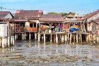 Die chinesischen Clan Jetties an der Meerenge von Penang in George Town, Malaysia