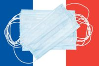Group protective medical surgical face masks on background colors flag of France or French Tricolour national flag