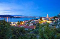 Zadar archipelago. Town of Kali on Ugljan island evening view,