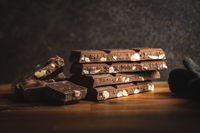 Milk chocolate bars. Brown nut chocolate