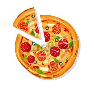 Sliced pizza cartoon