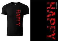 Schwarzes T-Shirt Design mit roter GLÜCKLICHER Beschriftung