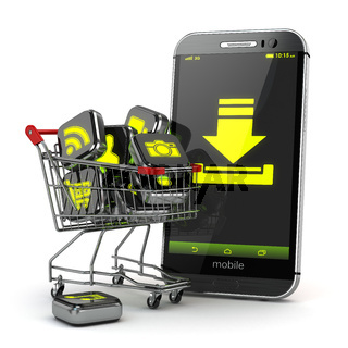 Downloading mobile apps concept. Application software icons in shopping cart and smartphone.
