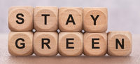 stay green printed on wooden cubes