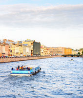 Tourists, boat, canal, Saint Petersburg
