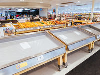 Empty Food and Product Shelves at an Australian Supermarket