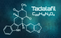Chemical formula of Tadalafil on a futuristic background