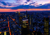 Aerial view over the skyscrapers of  Frankfurt at sunset