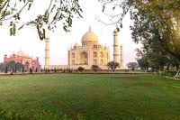 The Taj Mahal mausoleum in the garden, Agra, India
