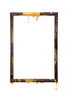 Empty black frame with golden splashes isolated