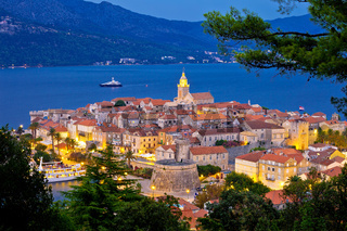 Historic town of Korcula evening view from above