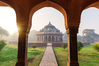 Sunrise in the Humayun's Tomb, view on the Isa Khan's tomb, Delhi, India