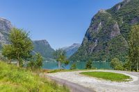 Lake Oldevatnet in valley Oldedalen Norway