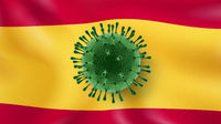 Bacteria of Coronavirus on the background of Spanish flag.