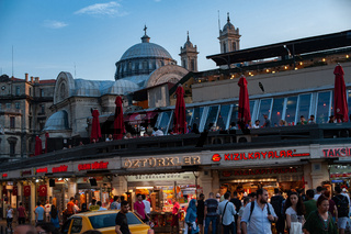 Fast food and Donor Kebab Shops at Taksim Square on the European side of Istanbul