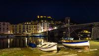 Colorful Bosa by night, Sardinia island, Italy