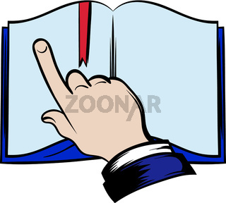 Open book with finger icon
