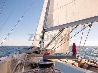 Mainsheet on the sailing boat
