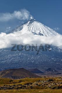 Klyuchevskoy Volcano - active volcano on Kamchatka Peninsula. Russian Far East, Asia
