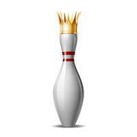 Bowling pin with royal crown isolated on a white background.