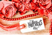 Label With Calligraphy Happy Mothers Day. Rose Flower