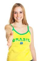 Greeting brazilian sports fan