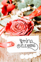 Label With Calligraphy Spring Cleaning, Rose Flower, Pearl