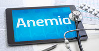 The word Anemia on the display of a tablet