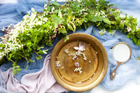 Fancy hand mirror and bowl of water among leaves and flowers prepared for skin care procedure