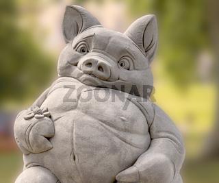 Sandkunst, Thema Tiere, Detail Schweinchen