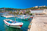 Turquoise waterfront and harbor of old town of Hvar