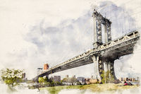 Watercolor Manhattan Bridge NYC