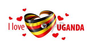 National flag of the Uganda in the shape of a heart and the inscription I love Uganda. Vector illustration