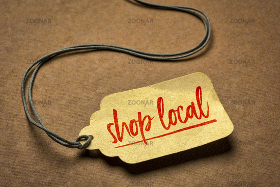 shop local sign  on a price tag